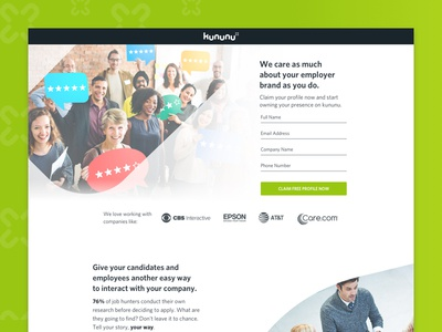 Kununu Claim Your Profile LP webdesign uiux network landingpage kununu jobs green graphicdesign glassdoor design colortheory branding
