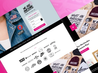 Awesome Merchandise US Tour LP developer sketch skateboard design colortheory graphicdesign landingpage merchandise branding webdesign pink uiux