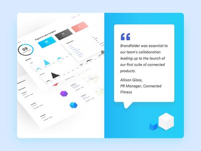 Brandfolder General Landing Page testimonials design colortheory graphicdesign landingpage geometric logo webdesign software branding saas uiux