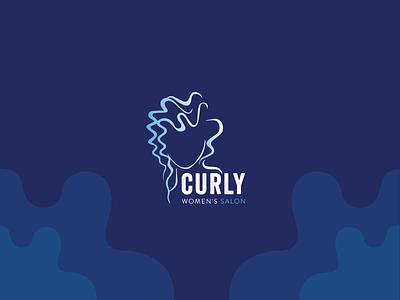 curly women's salon womens brand design space salon beauty branding identity logotype modern logo design minimal