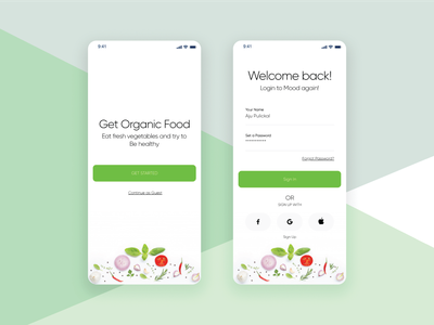 Grocery app login concept grocery app app screen sign up sign in login screen login app ux ui design minimal