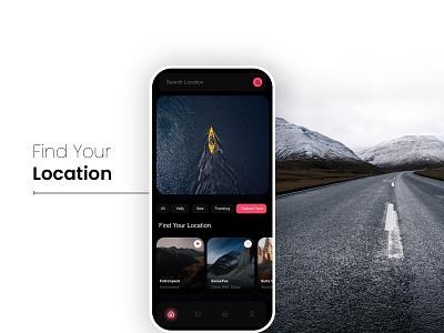Travel Destination Finder design black theme mobile ui ui design finder app travel app mobile app ux ui modern minimal