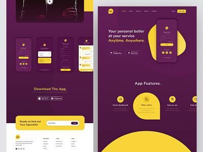 Mobile App Landing Page graphic design app landing page web design website landing page mobilelandingpage ui illustration modern design minimal