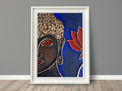 Handmade Buddha clay, acrylic paint on canvas