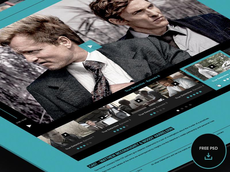 Free PSD Video Player psd player video player freebie tv series concept ui ux navigation