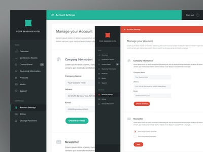 Control Panel Dashboard cms dashboard admin ui ux green red account settings hotels conference room