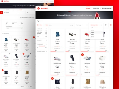 Buzzfeed filter products listing ecommerce ux ui dashboard affiliate buzzfeed