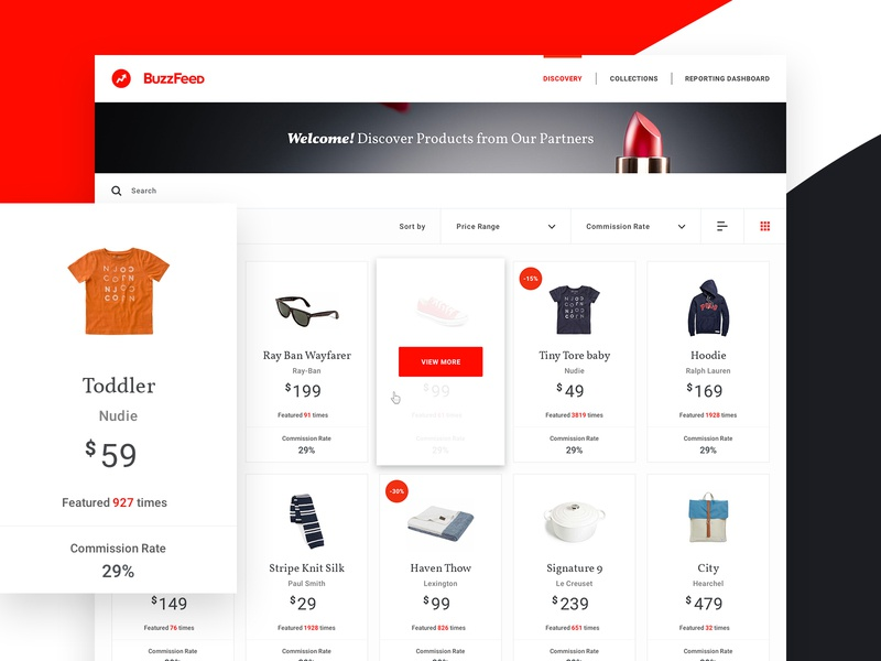 Buzzfeed Affiliate Commerce Solution consumer filter list card layout products commerce infographics app ui ux buzzfeed
