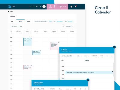 Cirrus 2 Calendar sas system admin api list stats dashboard infographics crm design ux ui