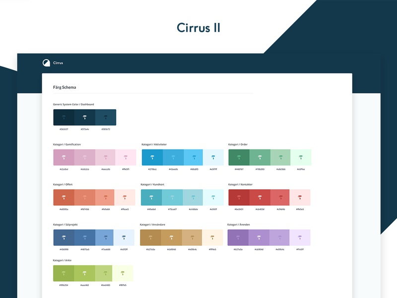 Cirrus 2 Color Guide colors styleguide awards contact ux ui system stats products list infographics design dashboard crm api admin