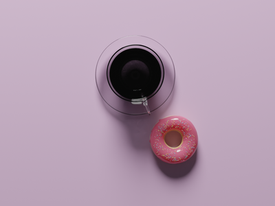 Coffee and Donut blender 3d