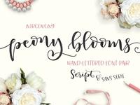 Peony Blooms Script Duo