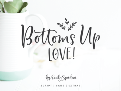 Bottoms Up Love Font Duo typography script font fonts type hand-lettered hand lettered type design typeface lettering