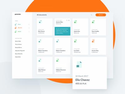 generator – Dashboard orange web bright documents ui sidebar redesign flat desktop dashboard cards