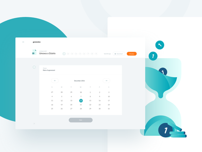 generator – Date of agreement time hourglass illustration calendar cards desktop redesign ui documents bright web blue