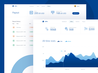 💶 Affiliate – Dashboard and Payout withdrawal statistics cash banking finance money blue dashboard ux ui