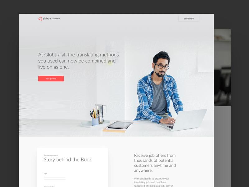 Globtra – Translator marketing web grey minimal landing website ui