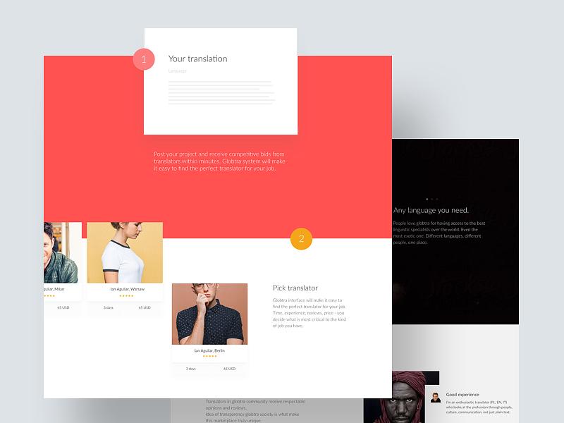 Globtra –  Homepage ui website landing minimal grey web marketing