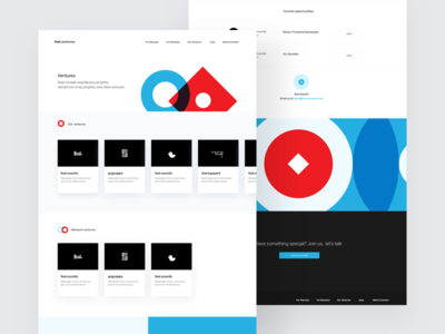 Feat Ventures – Subpages cards red blue white whitespace clean shapes landing page website