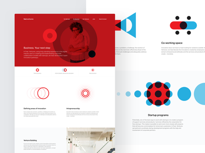 Feat Ventures – Business website landing page shapes clean whitespace white blue red cards