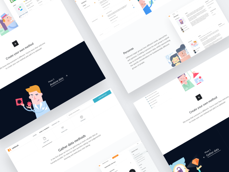 Talebook – How it works whitespace clean illustrations illustration web ui page landing landing page