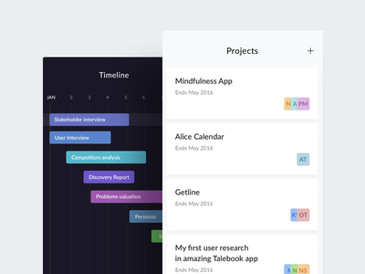 Talebook   Mobile Experiments whitespace clean homepage projects dashboard timeline calendar ios ui ux mobile