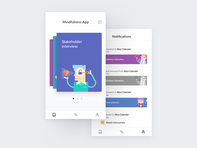 Talebook Mobile – Notifications & Project mobile ux ui ios calendar timeline dashboard projects homepage clean whitespace notifications