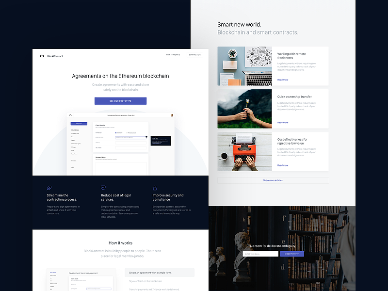 BlockContracts – Landing Page crypto cryptocurrency blue clean lp ui ux website landing page eth blockchain ethereum