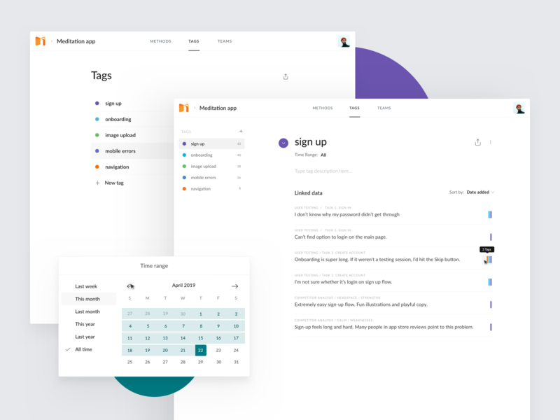 Talebook - Tags calendar date datepicker time list tag tags statistics clean app web ux ui