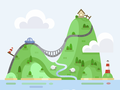 Big trip on a small island childhood child nature travel 2d flat illustration vector graphic design