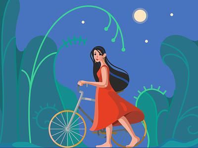 Night walk character vector design nature illustration flat 2d cartoon graphic design