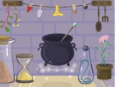 Witch crafts mobile app cartoon vector illustration flat 2d