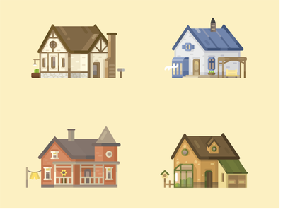 Illustrations of houses art leisure graphic design game design web app village cottage house design cartoon vector illustration flat 2d