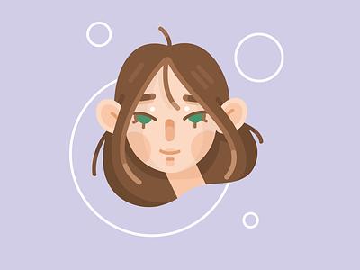 Vector character portrait cartoon style cute style portrait girl character cartoon vector illustration flat 2d graphic design