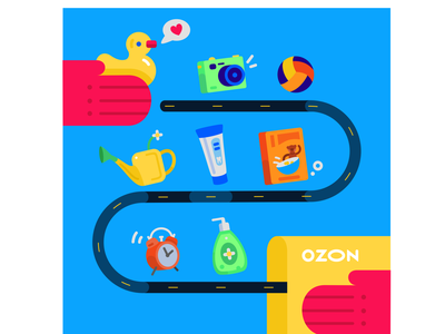 Illustration of delivery of goods branding design logo graphic design cartoon vector illustration flat 2d