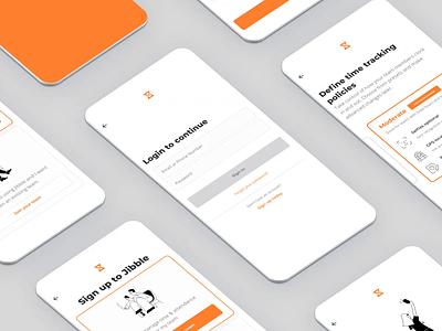 Jibble mobile - onboarding screens onboarding design branding branding and identity web ux app illustration ui