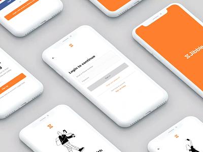 Jibble mobile - onboarding screens onboarding web app ux illustration ui branding and identity typography design branding