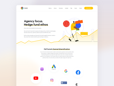 Rubix Agency – About us page minimal web app ux illustration ui branding and identity typography design branding