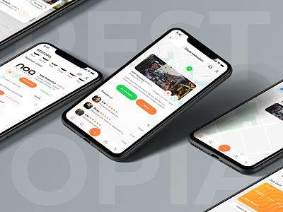 Restopia - Social & Food App food delivery app social app delivery app food app illustration branding design typography app ux ui