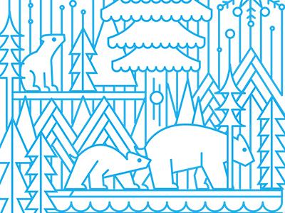 December Polar Bears line animals illustration
