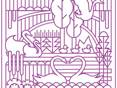February Swans line animals illustration