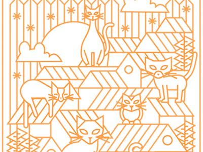 March Cats line animals illustration