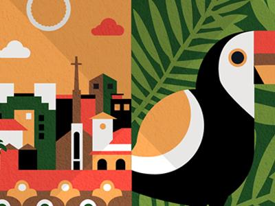 Costa Rica travel destinations illustration