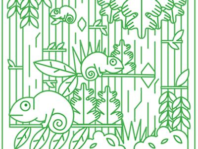 April Cameleon simple line animals illustration