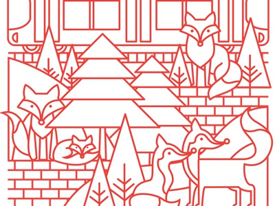 July Foxes simple line animals illustration