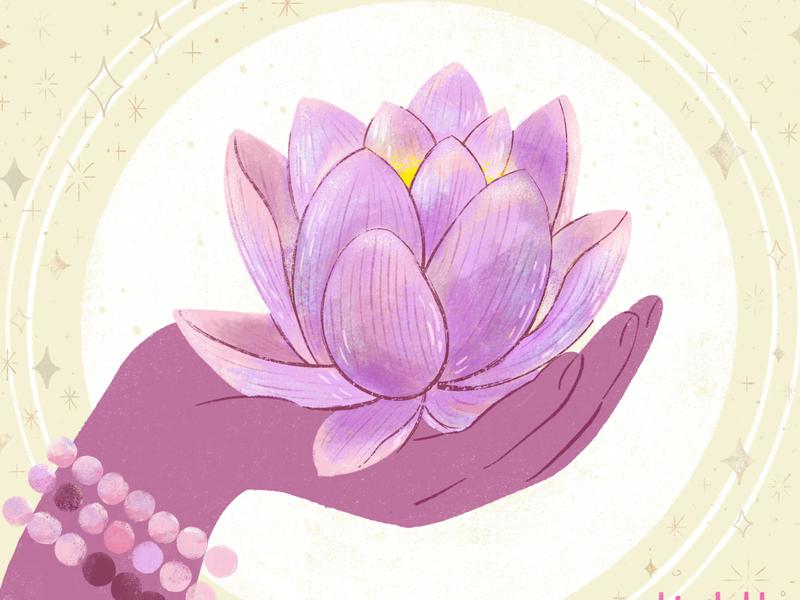 Sam Drinkwater Yoga and Meditation hand lotus flower lotus robin sheldon illustration digital art meditation yoga digital