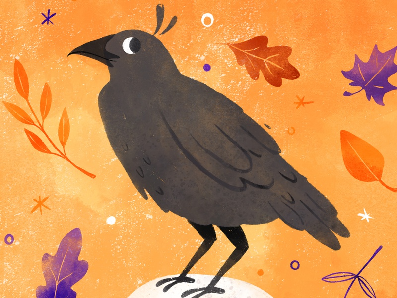 Peachtober 19' - Bird autumn fall leaf birds halloween spooky raven crow drawingart drawing bird robin sheldon illustration