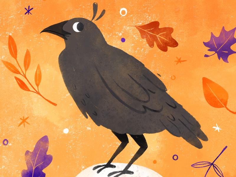 Peachtober 19' - Bird autumn fall leaf birds halloween spooky raven crow drawingart drawing bird robin sheldon illustration