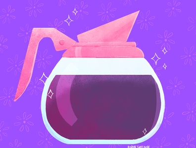 Refill anyone? design coffee pot cute digital robin sheldon illustration coffee