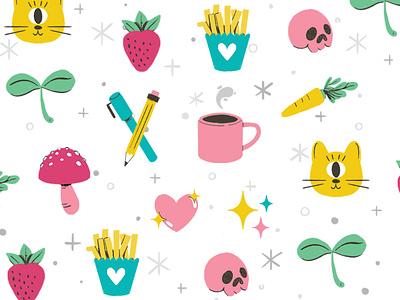 Cute & Fun Icons sparkle skull mushroom heart cat cute logo digital robin sheldon illustration